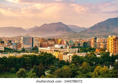 Tirana, Albania - June 2019: Areal view from Sky tower to Tirana city center at sunset main sights of downtown.