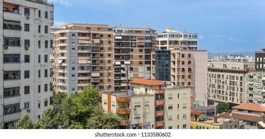 Tirana / Albania - June 23 2018: City View near the old train station