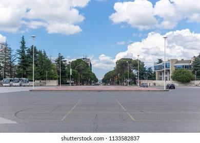 Tirana / Albania - June 23 2018: Main View from  Mother Teresa Square