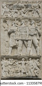 Tirana / Albania - June 23 2018: Reliefs at the Council of Ministers Building