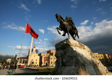 TIRANA, ALBANIA - MARCH 13: Skanderberg statue on March 13, 2009 in Tirana, Albania. Monument was inaugurated in the 1968 on the 500th anniversary of the death of Skanderbeg created by Odhise Paskali.