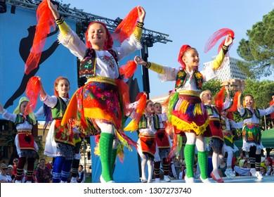TIRANA, ALBANIA - MAY 13: Girls dance with traditional costumes in Tirana, Albania on May 13, 2018.