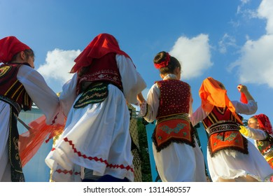 TIRANA, ALBANIA - MAY 13: View of colorful  traditional costumes of girls  in Tirana, Albania on May 13, 2018.