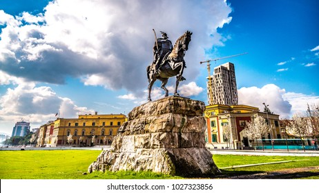 TIRANA, ALBANIA - MAY 17: Monument of Skanderbeg in Scanderbeg Square in the center of Tirana, Albania on MAY 16, 2017 in Tirana