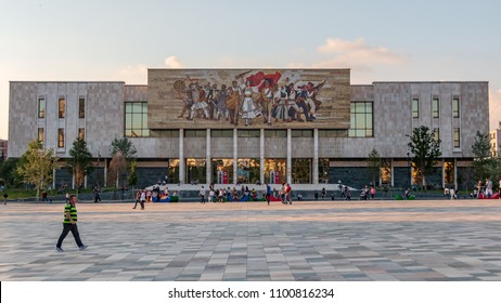 TIRANA, ALBANIA - MAY 25, 2018: View of the national museum during a hot day as the summer approaches and the temperatures are climbing higher in capital of Albania.