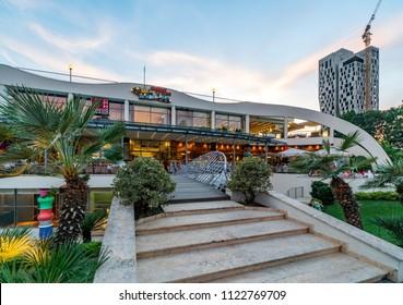 Tirana, Albania - MAY 29, 2018: Casino in Youth park in Tirana city center.