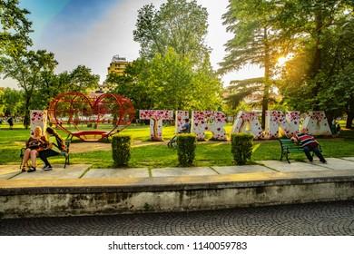 Tirana, Albania - MAY 29, 2018: I love Tirana sign, Youth Park in Tirana.