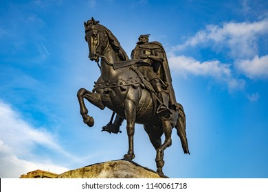 TIRANA, ALBANIA - May 29, 2018: Monument of Skanderbeg in Scanderbeg Square in the center of Tirana city, Albania against a cloudy sky. Tirana is the capital of Albania, Southeastern Europe