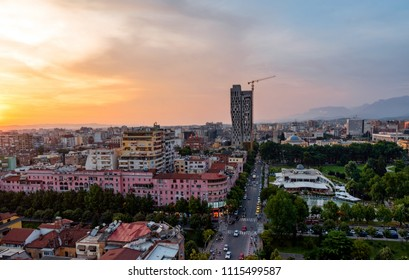 Tirana, Albania - May 30, 2018: Areal view of Tirana city center at sunset.