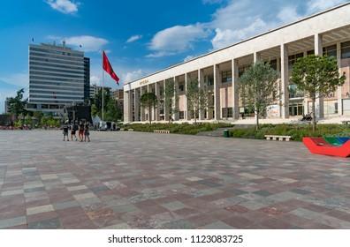 Tirana, Albania - May 30, 2018: The building of modern Opera House and Tirana International Hotel in center of Tirana, Albania.
