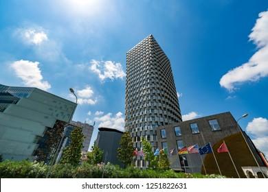 Tirana, Albania - May 30, 2018: The Plaza hotel, a contemporary building in center of Tirana.
