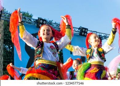 TIRANA, ALBANIA - MAY13: Albanian fokd dance in Tirana, Albania on May 13, 2018