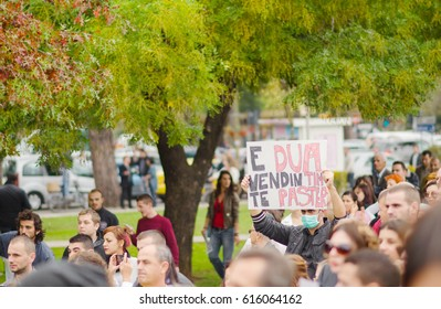 Tirana, Albania. November 13, 2013: citizens protest against chemical waste import from Syria.