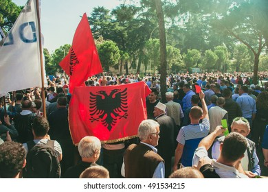 TIRANA, ALBANIA - OCTOBER 1, 2016: The protest in the center of the Albanian capital against the import of garbage.