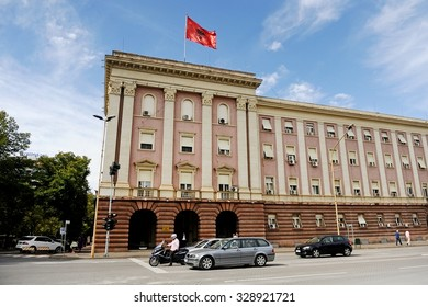 TIRANA, ALBANIA - SEPTEMBER 24: Architecture shot with the albanian Parliament building on September 24, 2015 in Tirana.