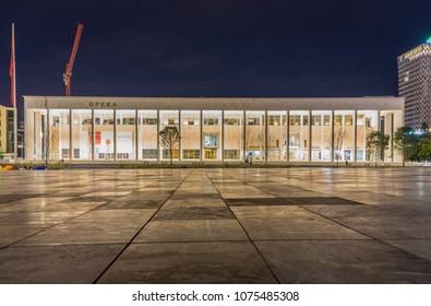 Tirana/Albania - February 24 2018: The Palace of Culture of Tirana, Albania . The Palace includes the National Library of Albania and the National Theatre of Opera and Ballet of Albania.