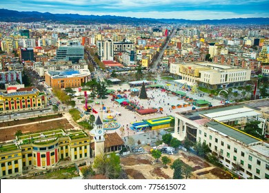 TIRANA,ALBANIA/DECEMBER 11,2017: The central square of Tirana.