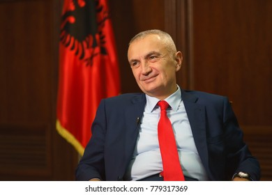 TIRANA,REPUBLIC OF ALBANIA/DECEMBER 11,2017: President of Republic of Albania Ilir Meta during an interview with Russian television