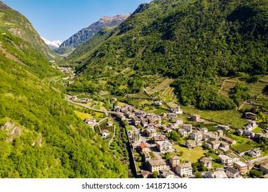 Tirano - Valtellina (IT) - Aerial view of Val Poschiavo from the Basilica