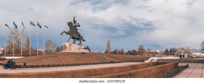 Tiraspol, Moldova - 03.10.2019. Equestrian statue to the russian commander Alexander Suvorov near the Dniester River in the city of Tiraspol, Transnistria, Moldova