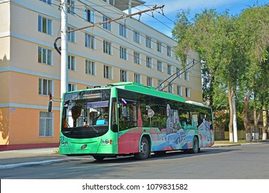 TIRASPOL, TRANSNISTRIA - SEPTEMBER 1, 2018 - A modern Russian BMZ-5298.01 Avangard trolleybus in the centre of Tiraspol