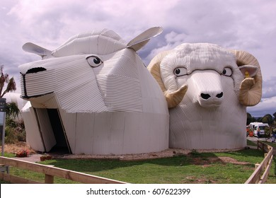 Tirau, South Waikato, New Zealand - Mar 9, 2017: Huge welcome sheep building.