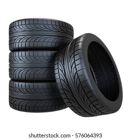 tire, 3D illustration, wheel, car