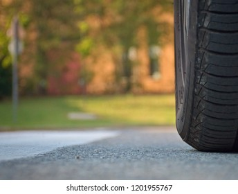a tire of car on the road