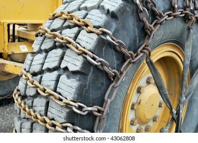 Tire Chains on Road Grader in Denali National Park, Alaska