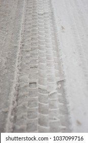 tire footprints on the road
