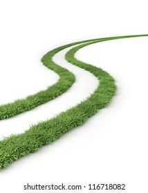 Tire marks, grass