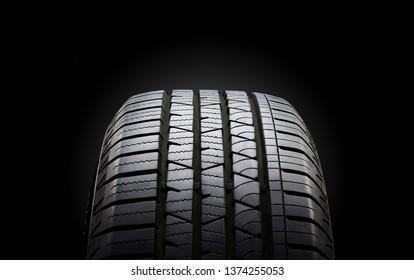 Tire on black bckground.