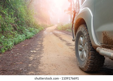 Tire on summer countryside way. Outdoor, adventures, expedition, explore and travel. Close-up car tyre tracks on dirt road in perspective.