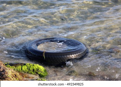 Tire Polluting The Ocean Water