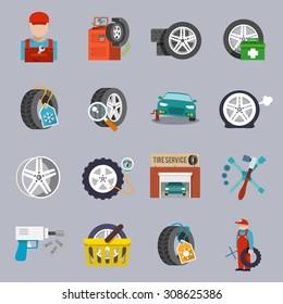 Tire service car auto mechanic repair icons flat set isolated  illustration