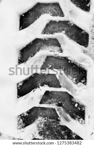 tire track on snow