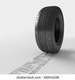 Tire with track from words