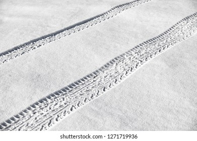 Tire tracks in newly fallen snow