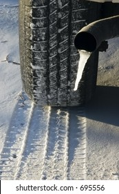 Tire, tread, and tailpipe with icicle