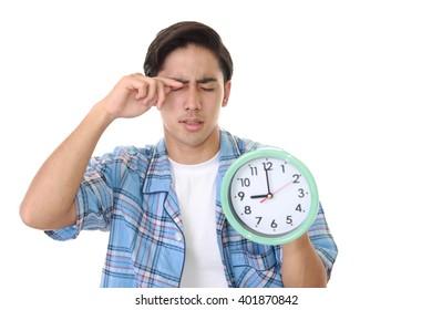 Tired Asian man