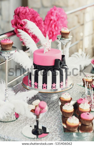Awe Inspiring Tired Birthday Cake Decorated Black Ribbon Stock Photo Edit Now Funny Birthday Cards Online Aboleapandamsfinfo