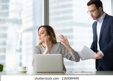 Tired bothered businesswoman abstracting from work refuse accept or consider report, annoyed female ceo gesturing rejecting mad business client or subordinate not looking at papers or documents
