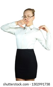 Tired business woman with glasses on a white background. Without looking at the camera. Studio photography