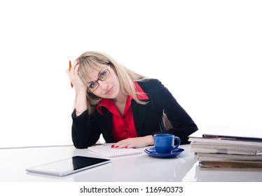tired business woman. Isolated on white background. cup of coffee