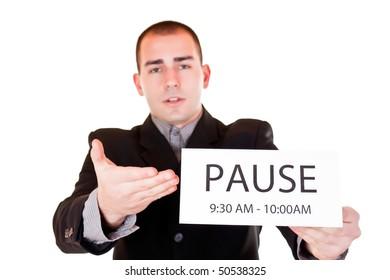 tired businessman in black suit  asking for break