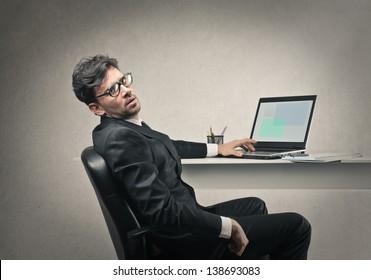 tired businessman working hard