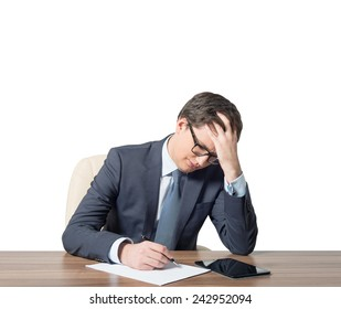 tired businessman working in office, close up
