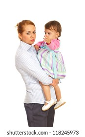 Tired businesswoman being mother and holding daughter isolated on white background