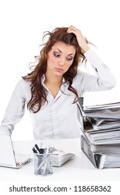 Tired businesswoman with paperwork