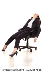 tired businesswoman sleeping in armchair on white background